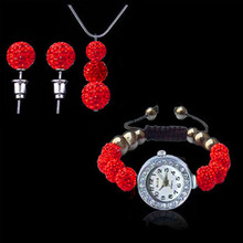 New New Arrival Fashion Jewelry Set Bead Watch3 Beads Pendant Necklace+Stud Earring Set montre femme Clock Timer(China (Mainland))