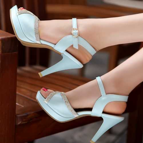 Fashion Women Shoes Sexy Rhinestone Thin High Heel Sandals Open Toe Platform Shoes Casual Parting Wedding Shoes<br><br>Aliexpress
