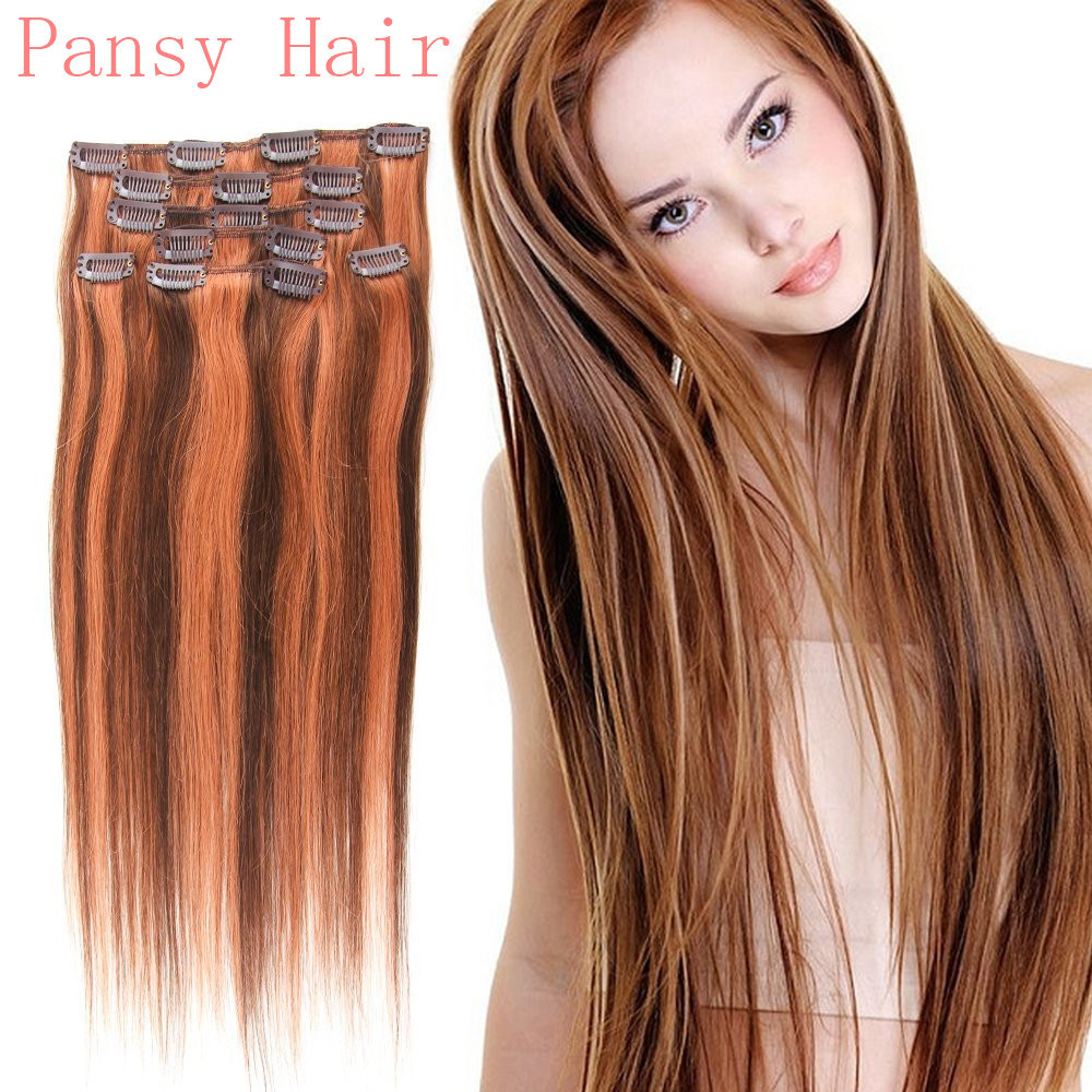 Hair Straight Hairpieces Wigs Clip in Human Hair Extensions Full Head ...