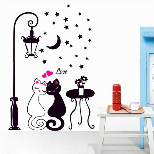 Hot cat and Street lamp stickers for wall decoration stickers for kids chart kids wall stickers for wall decoration Home Decor(China (Mainland))