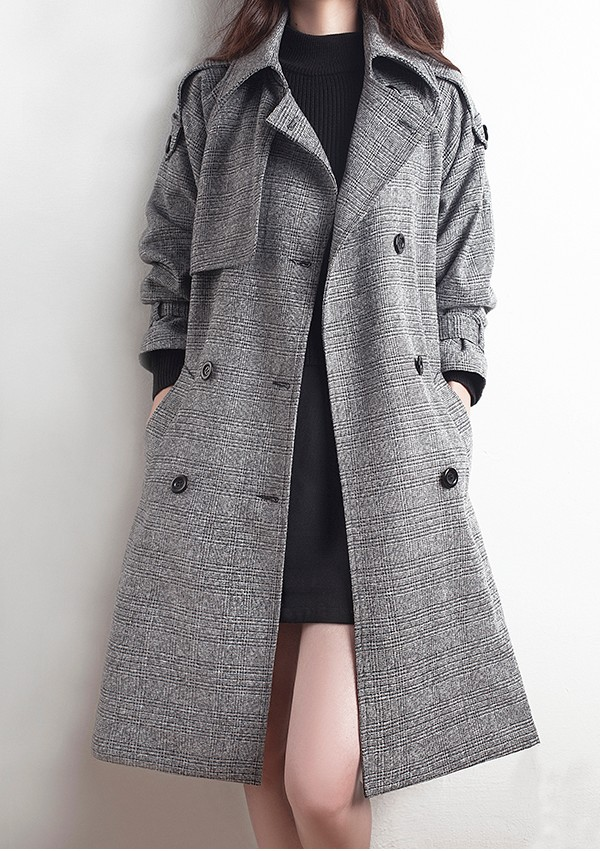 European Style 2016 Autumn Fashion Buckle Double Breasted Women Long Plaid Trench Coat With Belt Gray Plus Size S-XXL(China (Mainland))