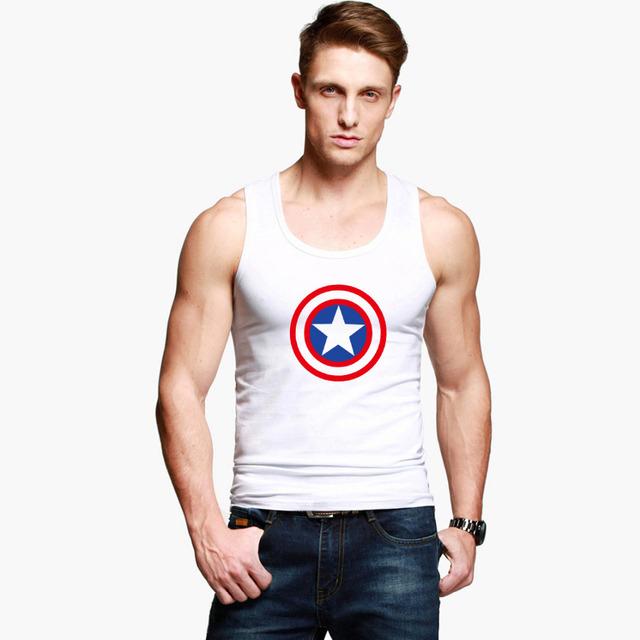 Высокое качество мужчины топы без рукавов мода мститель жилеты халк капитан американской ...