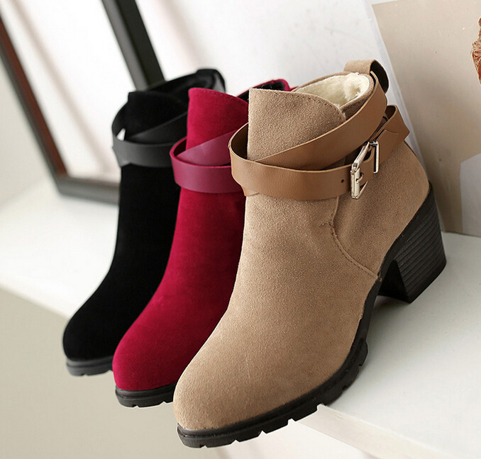 women boots 2015 fashion autumn ankle woman suede black red Add wool high heels shoes - SAR store
