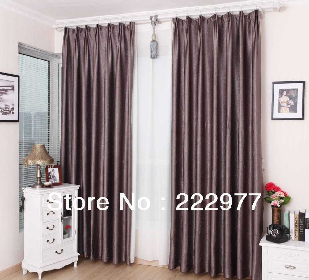Free Shipping 100 Polyester Pleated Curtain Grey Purple Ready Made Curtain Living Room