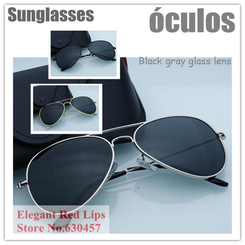 Black G ray Glass Lens Aviator Pilot Sun Glasses Men Women Sunglasses Fashion Glasses Eyewear Gafas Oculos de sol Sunglasses(China (Mainland))