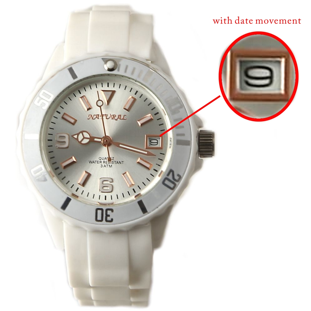 FW893C White Band White Watchcase Water Resist Men Women with date Fashion Watch(China (Mainland))