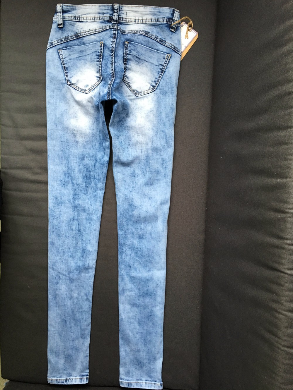 Female low-rise jeans trousers of Europe and the United States pencil pants elastic hole big yards jeansSK25