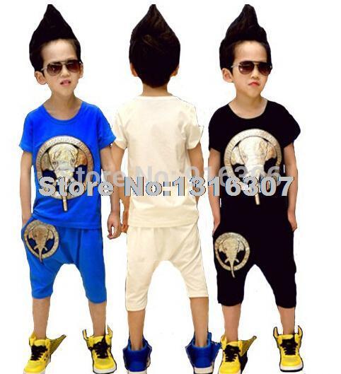 Summer 2014 Boy Sports Clothing Set Children Elephant Leisure Suit Children's Suits Best Clothes + Pants shorts - shop168 store