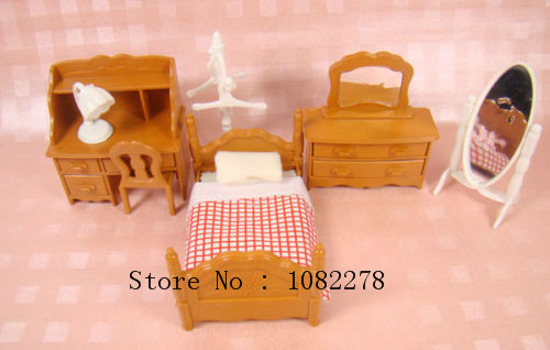 DollHouse Miniature Home Baby Toys BedRoom Furniture Single Bed Dresser Desk Rack for Sylvanian Families Minecraft Accessories(China (Mainland))