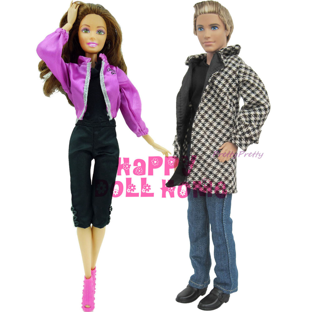 Free Shipping 2 Set Casual Dolls Outfit Clothing Sets for Prince Ken Barbie Doll Clothes Nice Gifts Best Selling Wholesale(China (Mainland))