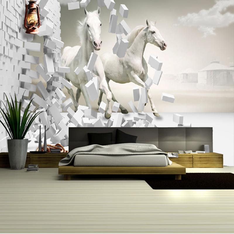 Buy large 3d white horse three dimensional mural sofa for Buy mural wallpaper