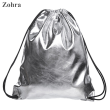 Silver leather Women Travel drawstring bag bolsos mochila Shoulder man sport party Gym bags backpack Classic forever Zohra brand