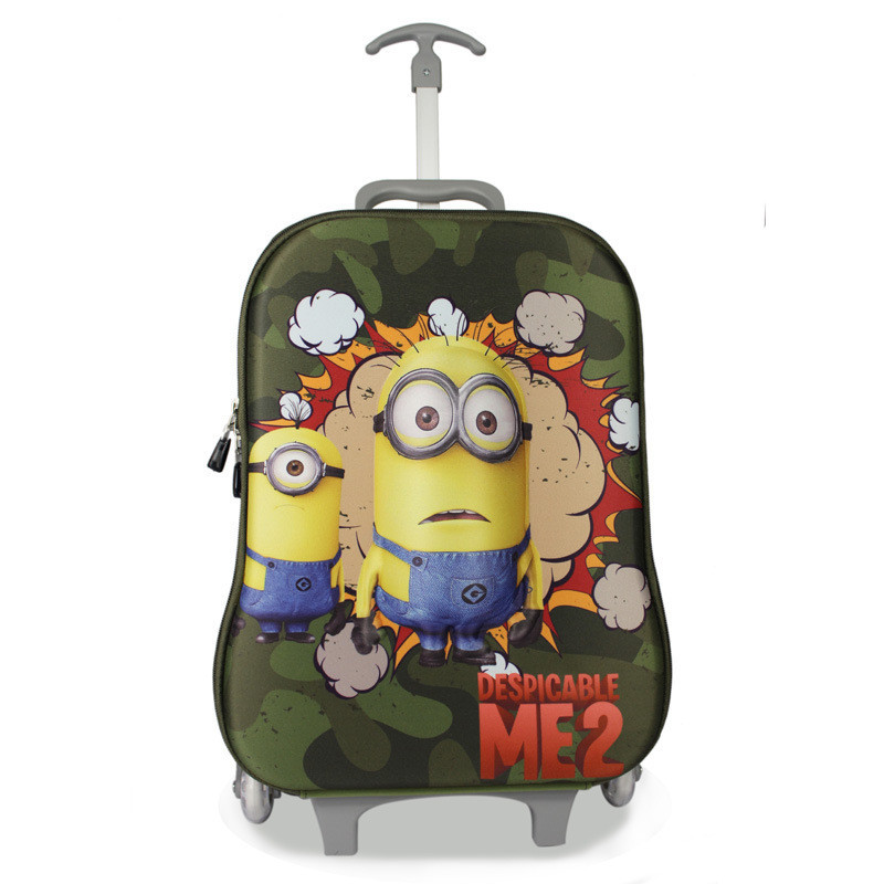 2 colors 2015 New children 3D Cartoon Despicable Minions Trolley School Bags 3 Wheels Kids Cool Cute Character Backpack