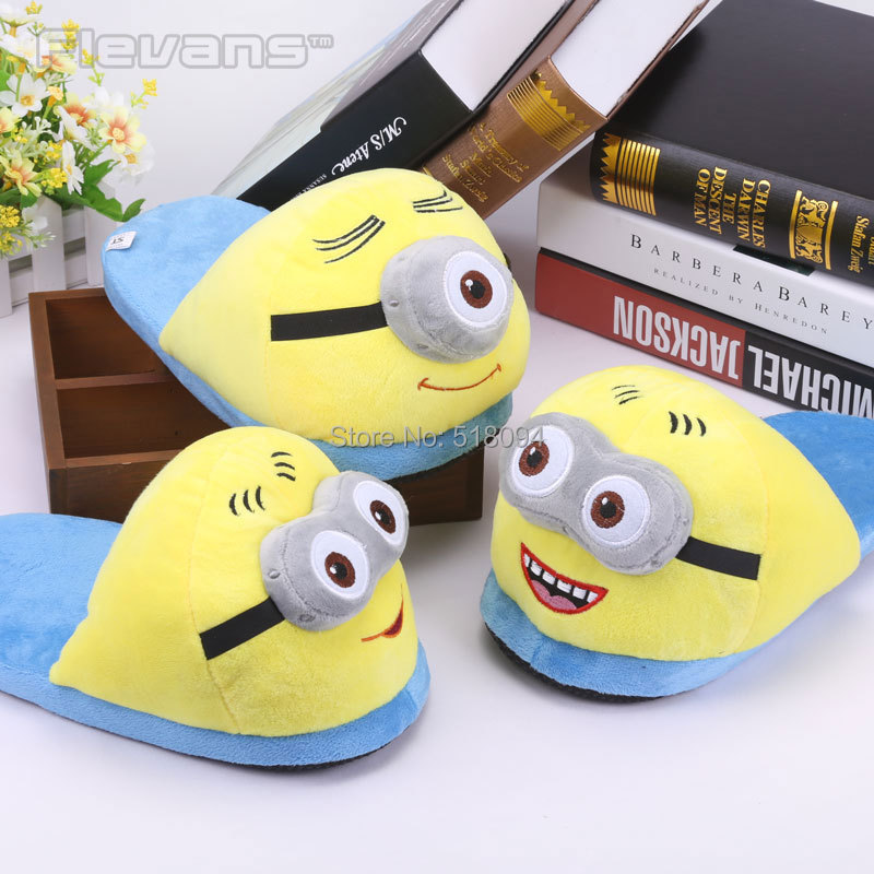 Anime Cartoon Despicable Me 2 Minions Plush Shoes Home House Winter Slippers for Children Women Men Kids Slippers ANSE049<br><br>Aliexpress