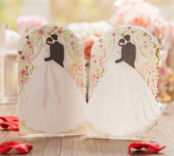 Fashion Inviting Card Elegant Laser Cut Paper Event Party Supplies Decoration Flower Floral Lover Romantic Wedding Invitation(China (Mainland))