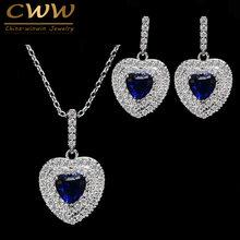 CWWZircons ใหม่ผู้หญิงอินเทรนด์อัญมณีสีเขียวออสเตรียคริสตัล 925 เงินสเตอร์ลิงสตรีต่างหูและชุดเคร...(China)