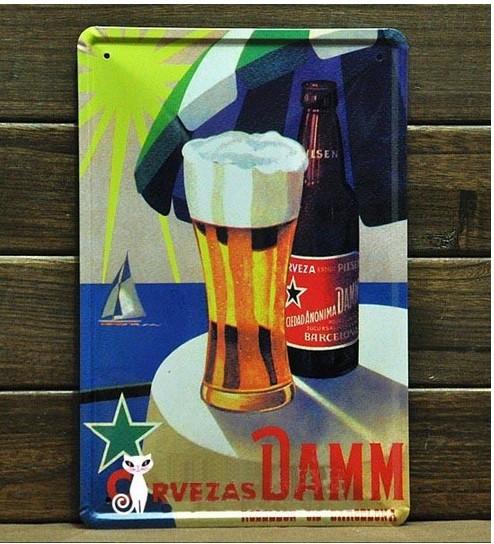 Cervezas Damm Beer Sign Metal Plate Pub Bar Ads Wall Decor