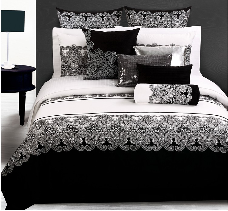 Luxury 4pc 6pcs bedding set king size black and white - Drap housse king size ...