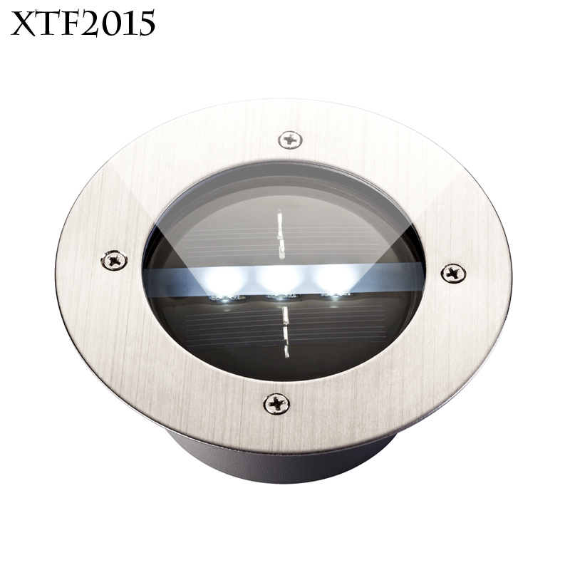 xtf2015 Cool&Warm White 6000-6500K 3 LEDs Solar Powered Ground Light Outdoor Garden Pathway Stairway Landscape Lighting DLD-01(China (Mainland))