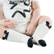 0-4Y Baby Kids Boys Girls Cotton Printed Cute Cat Anti-slip Knee Socks Soft Sock