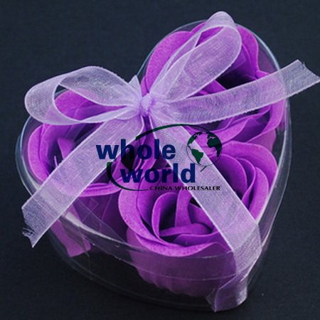 Purple 3pcs/set Handmade Wedding Favor Rose Bud Petals Soaps,gift sets for Valentine wedding,100sets/lot,free shipping(China (Mainland))