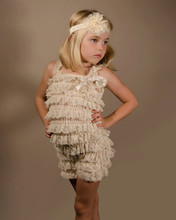 petti Girls Lace Romper ,Ruffle Baby Clothes,Champagne Baby Romper 2-6T ,Baby Outfit