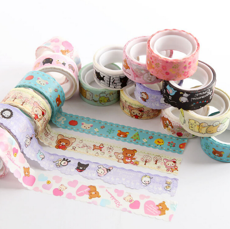 Cute Rilakkuma Cartoon Animals Washi Tape Adhesive Masking Tape Decorative DIY Stick Label Escolar Papelaria<br><br>Aliexpress