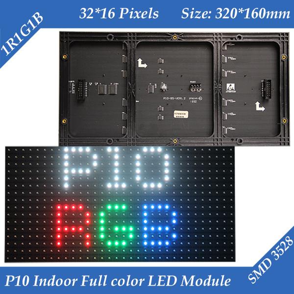 Indoor 320*160mm 32*16pixels 3in1 SMD 1/8 scan RGB P10 full color LED module for Advertising media LED Display