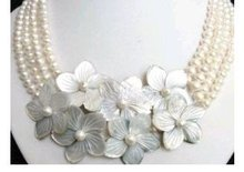 Nobler 4 Rows white pearl & shell flower necklace Fashion Free shipping(China (Mainland))