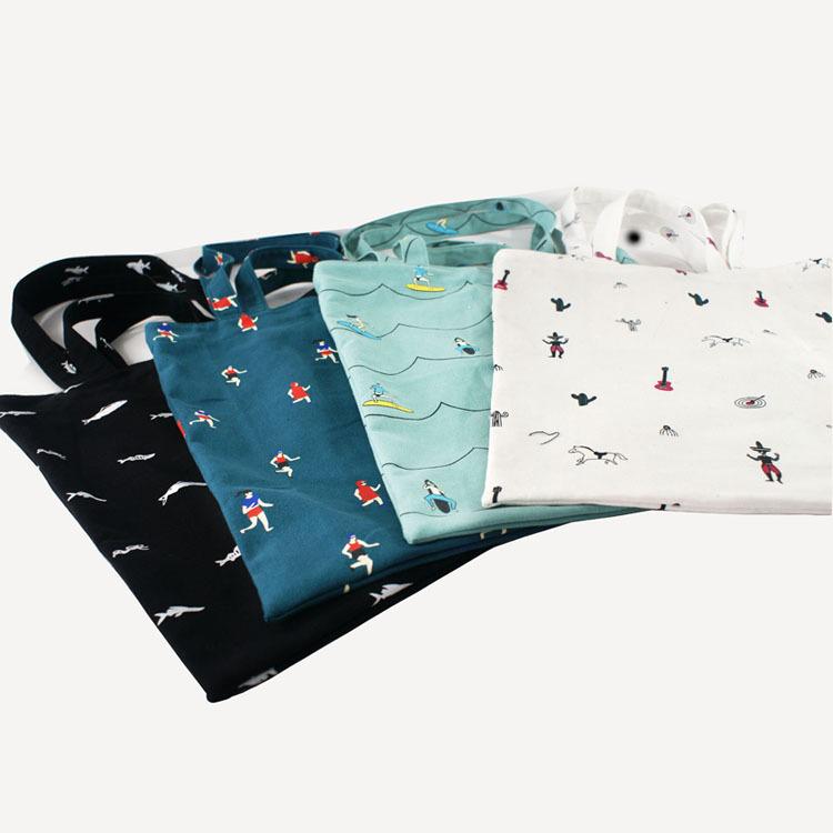 2016 Canvas handbag Printing handbag Cartoon Printing bags Cute fish bags School bags for teenagers girls Shoulder bags(China (Mainland))