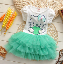 Summer Style Girls Dress Hello Kitty Cartoon Wings Tutu Dress Bow Veil Dresses For Girls Children