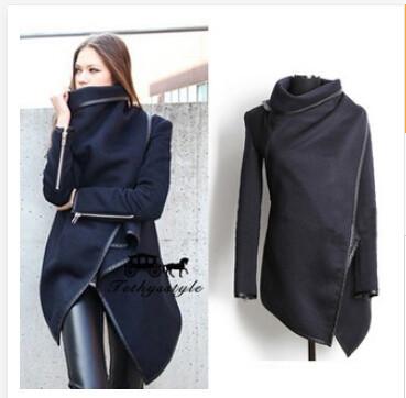 30pcs fedex express 2014 spring new models in Europe and America the main hook temperament Slim woolen coat windbreaker jacket(China (Mainland))