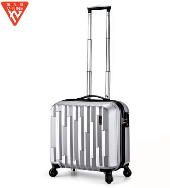 Women/Men ABS+PC Spinner Wheels Trolley Suitcase 17''Business Luggage Silver/Red/Black Colors Carry On Air Boarding Cases(China (Mainland))
