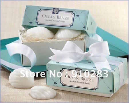 Free shipping Europe , Ocean Breeze - Seashell Scented Soaps Favor Wedding Favors, 100PCS/LOT, wholesale or retail