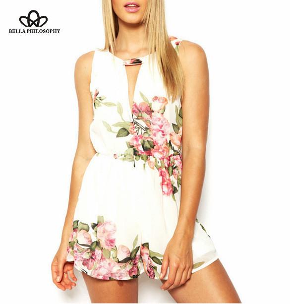 2016, лето, новый Женская Одежда оптом цветочный печати черный белый шифон комбинезон ...