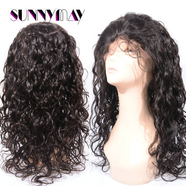 Stock Indian Human Hair Jet Black  Loose Curl Lace Front Wigs Bleached Knots With Baby Hair