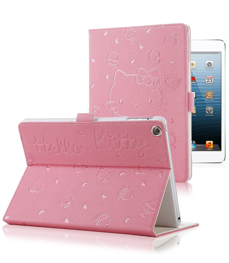 Free Shipping tablet case for Ipad 2 3 4 Hello Kitty pu leather smart cover stand hasp cases for Ipad a1460 a1459 a1458 a1416(China (Mainland))