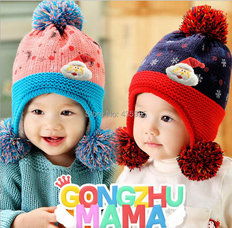 wholesale 2015 new arrival baby hats Children's princess hat knitting hat velvet Santa Claus hanging double cap H74(China (Mainland))