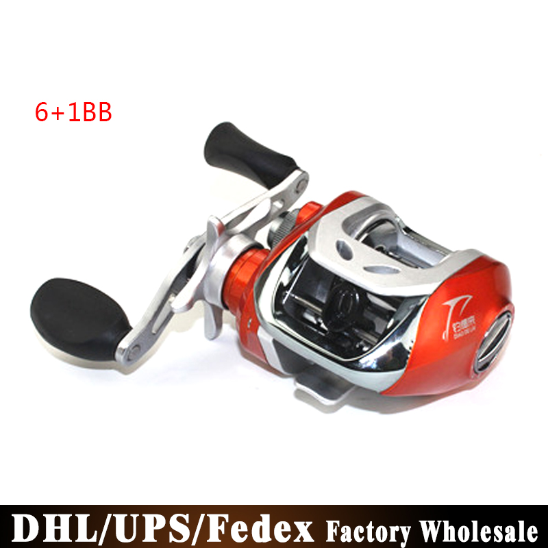 (Wholesale) 20PCS FDDL Classic Reel 6+1 Ball Bearings Carp Fishing Gear Right/Left Hand Bait Casting Fishing Reel(China (Mainland))