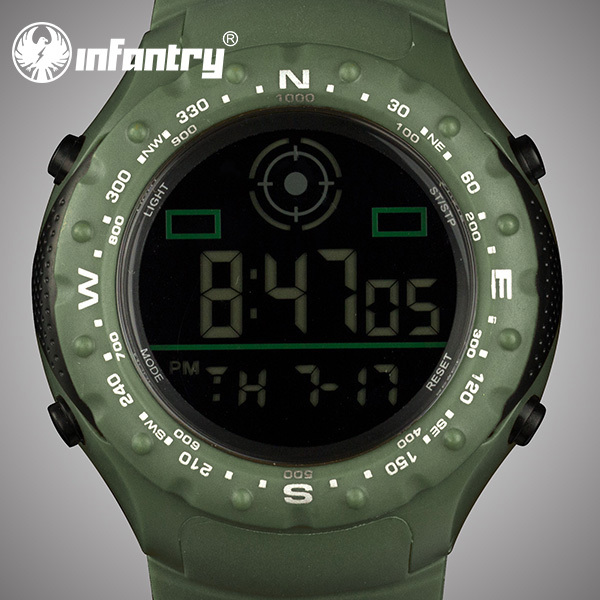 INFANTRY Men's Army Quartz Wrist Watch Digital LCD Alarm Watches 2015 Fashion Green Sport Silicone Bands Water Resistant(Hong Kong)