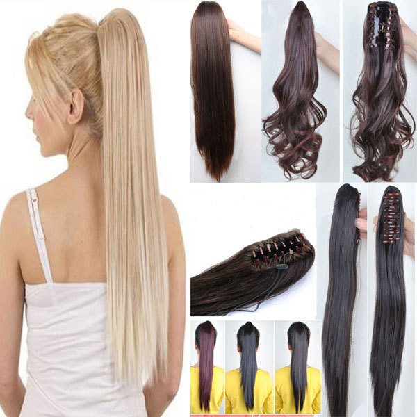 """2015 New Fashoin Long Synthetic Straight Ponytails 21"""" 145g Clip In Ponytail Hair Extension Hair piece 6 Colors For Beauty Women(China (Mainland))"""