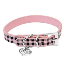 1PCS Cute Adjustable Polka Dot Pendant Leather Buckle Pet Collar Dog Puppy Cat Pink Plaid Necklace Neck Strap
