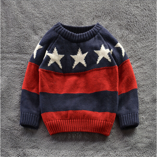 855-38 Wholesale New 2015 Autunm Boys Sweaters Cotton Dobby Stars Striped Kids Pullovers Boy Causal Sweater Children Clothes Lot<br><br>Aliexpress