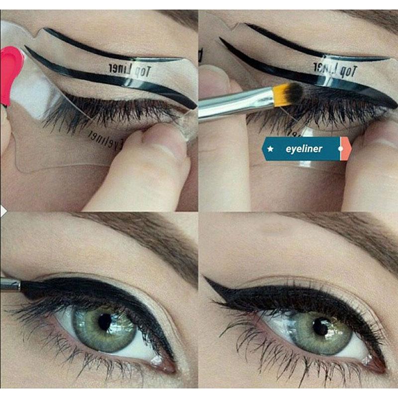 2Pcs Eyebrow Shaping Guide Template Cat Eye Eyeliner Stencils Kit Model for Eye Brow Top Bottom Eye Liner DIY Pochoir Card(China (Mainland))