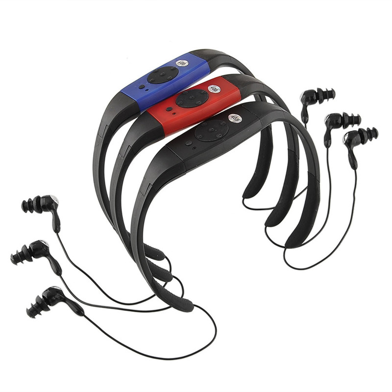 Wholesale 10 PCS waterproof FM radio 4 g MP3 music player swimming surfing SPA water sports black/red/blue(China (Mainland))