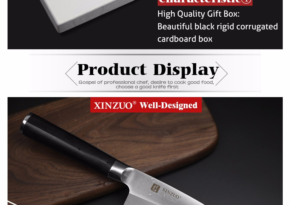 Buy XINZUO 7 inch deba knife with Scabbard Germany steel sashimi knife kitchen knives One-sided chef knife Ebony handle free shiping cheap