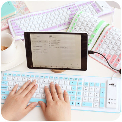 Creative Ultra-thin Mute Android Tablet USB Keyboard Portable Folding Laptop Silicone Keyboard For Ipad(China (Mainland))