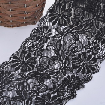 Black Elastic Lace Trim Ribbon Fabric DIY Crafts Sewing Suppies Decoration Accessories For Garments 1PC/5Yards 15cm