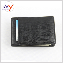 2015 New Men Money Clip Black Genuine Leather Billfold Clamp For Money With Card Hold Luxury