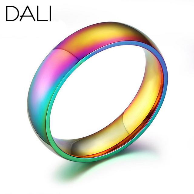 Дали классический мужчины женщины радуга красочные кольцо титана стали обручальное ...